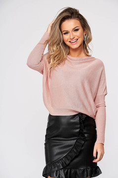 Lightpink sweater casual knitted flared cowl neck