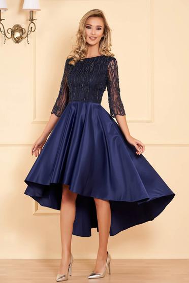 Rochie albastru-inchis de ocazie asimetrica in clos din satin si tul brodat cu aplicatii cu margele