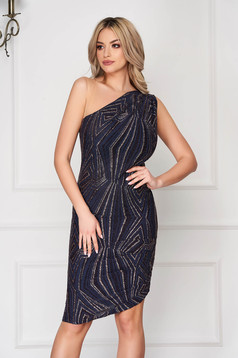 Darkblue occasional midi dress with tented cut from elastic fabric with glitter details
