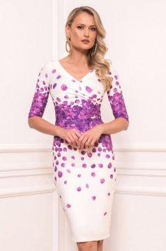 Rochie PrettyGirl mov eleganta midi din stofa din material usor elastic cu maneci scurte cu decolteu in v