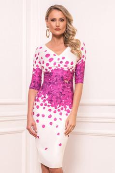 Rochie PrettyGirl fuchsia eleganta midi din stofa din material usor elastic cu maneci scurte cu decolteu in v