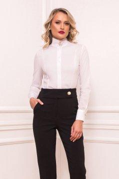Camasa dama PrettyGirl alba office mulata cu maneca lunga din bumbac usor elastic