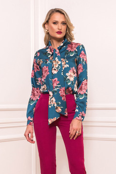 Dirty green elegant women`s shirt with easy cut from satin fabric texture with floral print
