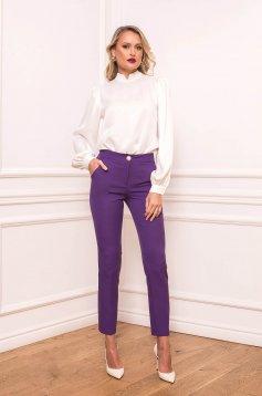 Pantaloni PrettyGirl mov conici office cu talie inalta din stofa usor elastica