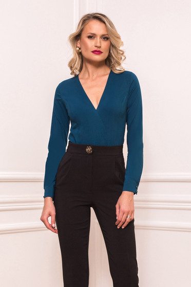 Body PrettyGirl albastru office cu un croi mulat cu decolteu in v din bumbac usor elastic