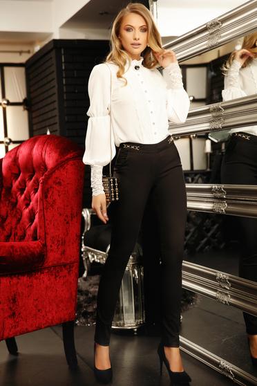 Pantaloni Fofy negri office conici din bumbac usor elastic cu talie medie cu accesorii metalice
