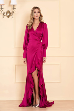 Ana Radu fuchsia occasional long dress mermaid cut with ruffle details from satin