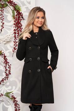 Palton PrettyGirl negru casual cu un croi drept din stofa captusit pe interior