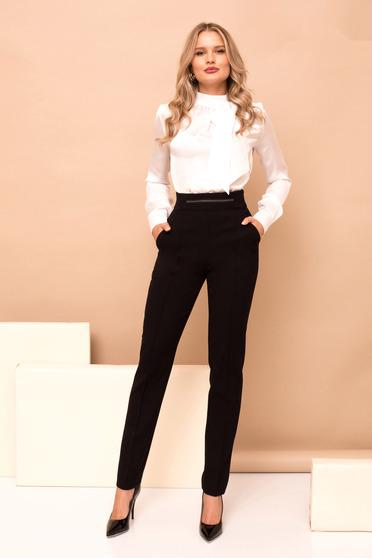 Pantaloni PrettyGirl negri conici cu talie inalta si buzunare