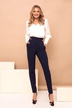 Pantaloni PrettyGirl albastru-inchis lungi cu un croi drept cu buzunare si talie inalta