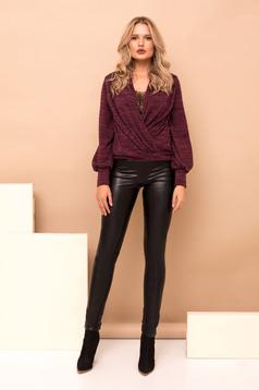 Pantaloni PrettyGirl negri lungi eleganti din imitatie de piele