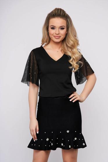 Bluza dama Top Secret neagra de party scurta din voal cu croi larg cu aplicatii cu perle