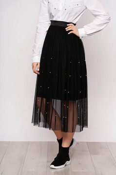 Black skirt clubbing midi cloche from tulle with pearls