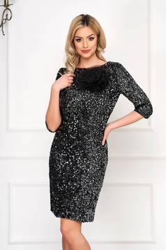 Dress StarShinerS black occasional pencil short cut with sequins with net accessory zipper fastening