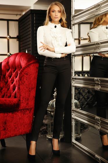 Pantaloni Fofy negri office conici cu talie medie din bumbac usor elastic