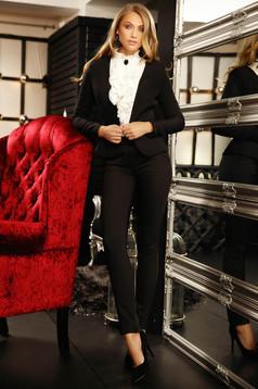Sacou Fofy negru office cambrat din stofa usor elastica cu umerii buretati captusit pe interior