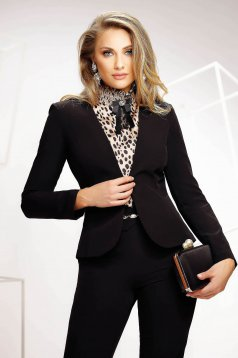 Black office tented jacket slightly elastic fabric with padded shoulders