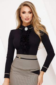 Black women`s shirt with tented cut with ruffles on the chest office long sleeved