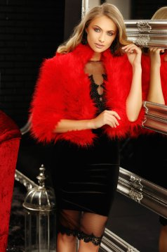 Red occasional fur with 3/4 sleeves