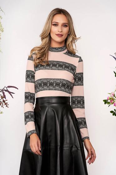 Pulover StarShinerS roz deschis elegant scurt mulat din tricot pe gat cu maneci lungi