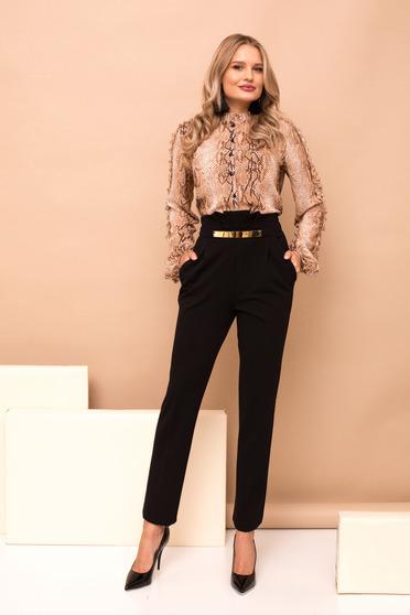 Pantaloni PrettyGirl negri lungi cu un croi drept cu buzunare si talie inalta
