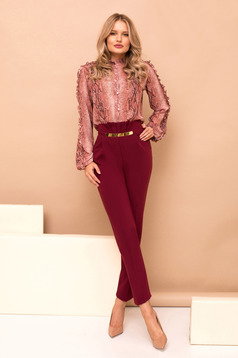 Burgundy trousers with pockets high waisted straight long