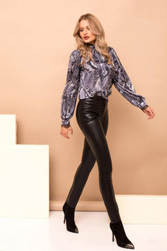 Black trousers with pockets high waisted straight from ecological leather