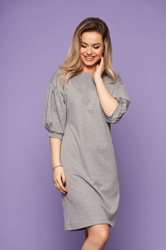 StarShinerS grey dress neckline with puffed sleeves with 3/4 sleeves casual daily
