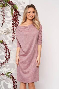 Rochie StarShinerS roz din material tricotat fir stralucitor cu croi larg