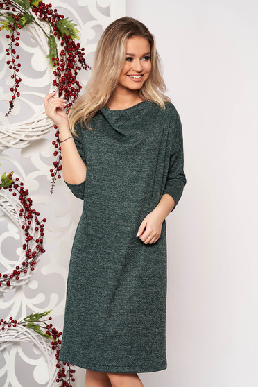 Rochie StarShinerS verde din material tricotat cu croi larg