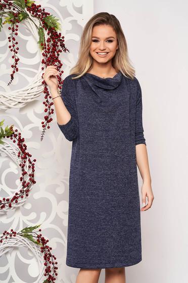 Rochie StarShinerS albastru-inchis din material tricotat cu croi larg