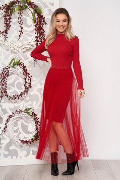 Red dress elegant short cut pencil knitted from striped fabric voile overlay folded up