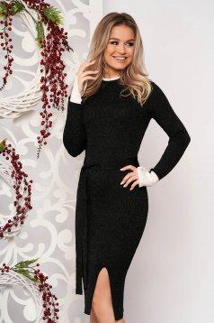 Rochie SunShine neagra midi eleganta tip creion din material tricotat reiat pe gat cu slit frontal