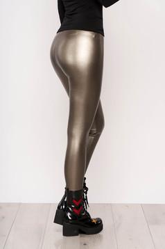 Colanti SunShine auriu de party din material elastic din imitatie de piele lucioasa cu elastic in talie