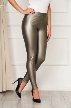 From ecological leather high waisted elastic waist gold tights