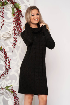 Rochie SunShine neagra midi de zi din material tricotat cu maneci lungi pe gat fara captuseala