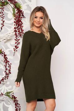 Rochie SunShine khaki casual midi din material tricotat cu un croi drept cu decolteu in v si maneci lungi