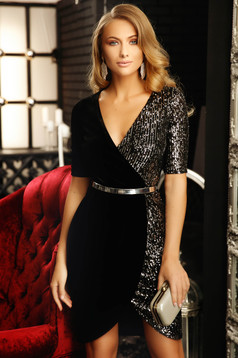 Dress black short cut occasional pencil velvet with sequins with deep cleavage short sleeves
