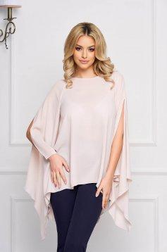 Bluza dama StarShinerS crem eleganta asimetrica din voal cu croi larg