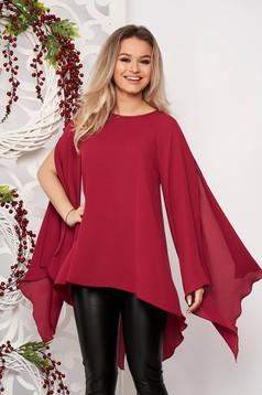 Bluza dama StarShinerS visinie eleganta asimetrica din voal cu croi larg
