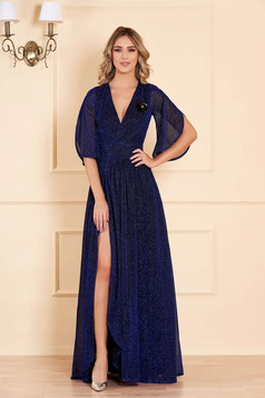 Dress blue long occasional cloche shimmery metallic fabric with inside lining with v-neckline