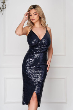 StarShinerS darkblue occasional dress with inside lining with sequins with tented cut with straps wrap around