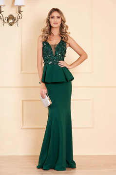 Dress green with v-neckline with net accessory mermaid dress occasional peplum