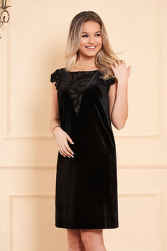 Dress StarShinerS black occasional flared midi velvet with embroidery details with net accessory