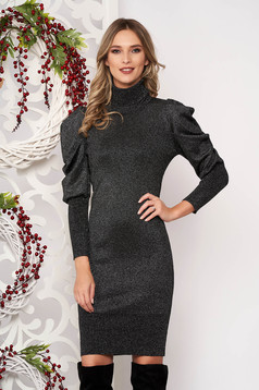 Silver dress long sleeved knitted fabric high collar midi pencil