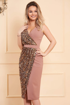 StarShinerS cream dress occasional midi pencil with sequin embellished details with v-neckline wrap over front sleeveless