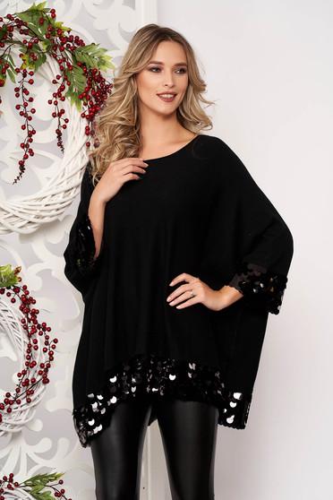 Bluza dama SunShine neagra cu croi larg scurta din material elastic si subtire cu aplicatii cu paiete cu maneci scurte