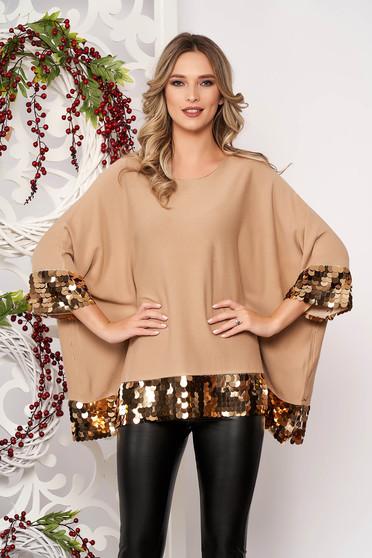 Bluza dama SunShine cappuccino cu croi larg scurta din material elastic si subtire cu aplicatii cu paiete cu maneci scurte