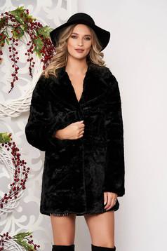 Blana SunShine negru din blana ecologica cu maneci lungi cu buzunare si inchidere cu capse