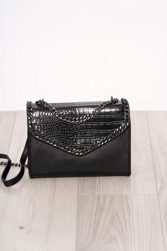 Geanta dama SunShine neagra material din piele ecologica imitatie de piele de sarpe cu maner lung tip lantisor accesorizata cu fermoar